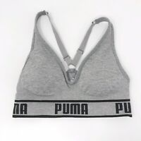 Puma Small S Racerback Logo Sports Bra Heather Gray Black Medium Impact Womens