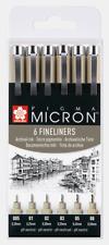 Sakura Pigma Micron   Assorted Line Widths   Pack 6   Black