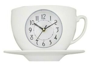 Cup & Saucer wall clock White Kitchen Tearoom UK seller