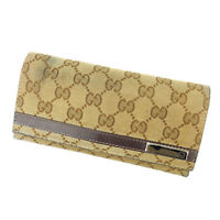 Gucci Wallet Purse Long Wallet GG Brown Beige Woman Authentic Used M1326