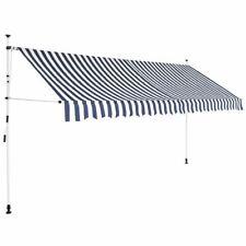 vidaXL Luifel Handmatig Uitschuifbaar 400 cm Blauw/Witte Strepen Zonnescherm