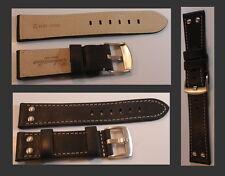 Fliegeruhren Echtleder Armband Vintage-Look Stahlnieten dunkelbraun genäht 20mm