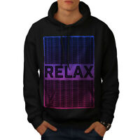 Wellcoda Relax Quote Chill Mens Hoodie, Funny Casual Hooded Sweatshirt