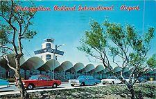 Postcard Metropolitan Oakland International Airport pm 1964 old cars 1950's
