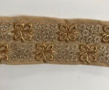 ATTRACTIVE INDIAN BEIGE VALOUR WITH GOLD EMBROIDERY TRIM/LACE-Sold By MTR