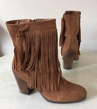 f01f683882c5 New ListingRalph Lauren Denim   Supply Mini Fringe Boots Brown Tan Leather  Size 7 B