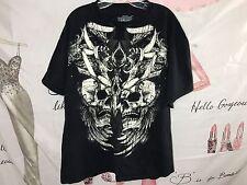 MMA ELITE Skulls Ravens T Shirt TEE MENS XL XLarge Black/Gray 100% Cotton TOP