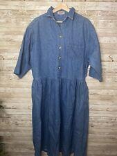 FADS Womens Vintage 80's 90's Blue Denim Shirt Jean Dress Large X-Large Modest