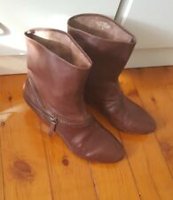 NINE WEST Chocolate Brown Maroon Leather Timber Wedge Ankle Boot Pull On Size 7M