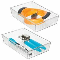 "mDesign Plastic Kitchen Cabinet Drawer Organizer Tray, 9"" Long, 2 Pack - Clear"