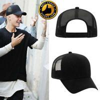 Justin Bieber Trucker Hat Black Grey Snap Back Style New Blank Cap Mesh Back