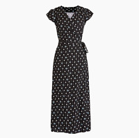 J.Crew Mercantile easy wrap dress in blue-and-white daisies Black Petite S J4261