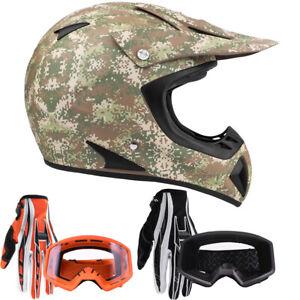 New Adult Camo Motocross Helmet Combo Gloves Goggles DOT ATV UTV MX OffRoad