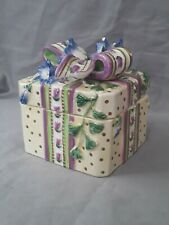 Fitz and Floyd Essentials Porcelain Square 2 Piece Trinket Box Violets & Ribbon