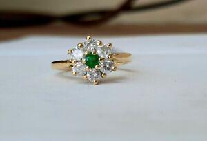 18ct Yellow Gold Emerald & Diamond Daisy Cluster Ring.