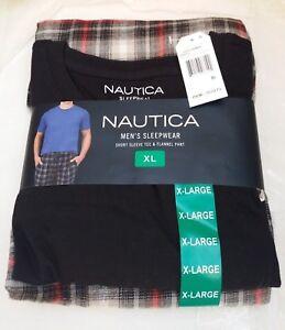MENS NAUTICA OTB TRUE BLACK/RED PLAID  2 PCE SLEEPWEAR SET