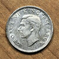 1940 New Zealand Sixpence 6 Pence Coin, Silver, George VI, KM# 8, XF