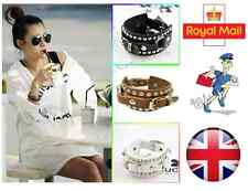 Leather Cuff Wristband Adjustable Punk Rock Stud Bracelet Bangle