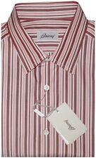 $595 NEW BRIONI WHITE MAROON TAUPE ORANGE CHAMBRAY STRIPE DRESS SHIRT M EU 41 16