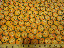 Creepers Peepers Pumpkin Faces Allover Cotton Fabric BTY Green & Orange