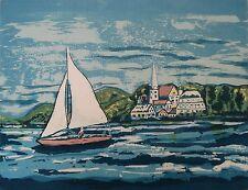 Sailboat Art Litho MCM Ltd Ed 32/55 Pencil Sign Illegible title Lake View
