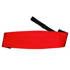 DQT Satin Plain Solid Red Wedding Adjustable Mens Cummerbund