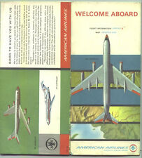 1965 American Airlines Air Routes Map and Flight Info.  / Great Graphics !!