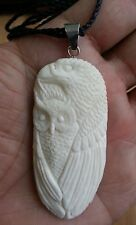 Sea Hawk Eagle & Owl In Buffalo Bone Hand Carved Pendant Silver Bale Necklace