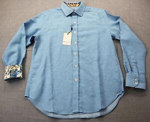 Robert Graham Fischer Men Turquoise Blue Houndstooth Linen LS Shirt NWT  S  $198