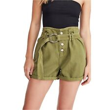 FREE PEOPLE CINDY UTILITY SHORTS PAPER BAG WAIST MOSS GREEN DENIM BELTED SZ 6