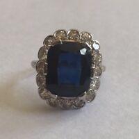Art Deco Emerald Cut 5ct Sapphire & 1.50ct Diamond 18ct Gold Antique Ring