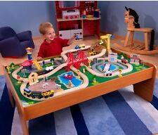 100-Piece Wooden Train Set Small Table Toys Kid Railway Track Compatible T & F