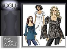 Very Easy Vogue Low Cut Tops with Flounce Sleeves Size 4-6-8-10 Pattern V8289
