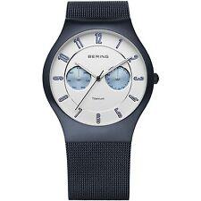*BRAND NEW* Bering Men's Blue Titanium Mesh Strap Sub Dials Watch 11939-394