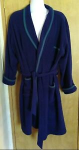 VINTAGE LL BEAN USA BLUE N. GREEN 100% POLYESTER BELTED ROBE POCKETS