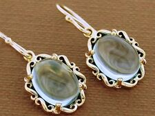 E092 Genuine 9ct Yellow Gold Natural Topaz Cabochon Earrings Victorian scrolls