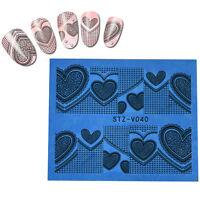 Valentines Nail Art Stickers Water Decals Wraps Love Hearts Stamping (stvvz40)