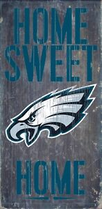 """Philadelphia Eagles Home Sweet Home Wood Sign NEW 6"""" x 12"""" Wall Decoration Gift"""