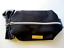 Viktor Rolf Black Cosmetic Bag with Bow Zipper Closure New