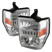 Ford 08-10 F250 F350 F450 F550 SuperDuty Clear LED Halo Projector Headlights