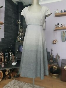LOVELY PER UNA SPEZIALE FIT TO FLARE LINEN MIX DRESS SIZE 10