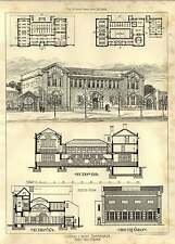 1903 Central Library Hammersmith Design Section Plans Henry Hare