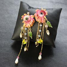 Boucles d`Oreilles Clous Email Fleur Chrysanthème Rose Frange Perle Original L1