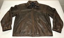 Men's Sonoma Jeans Distressed Leather Jacket Size Large Dark Brown