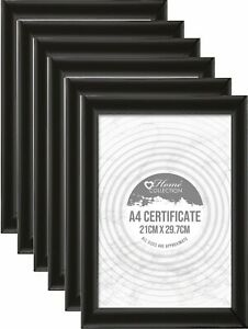 [Pack of 6] Midnight Black - A4 Flat Certificate Photo Picture Frame 21 x 29.7cm