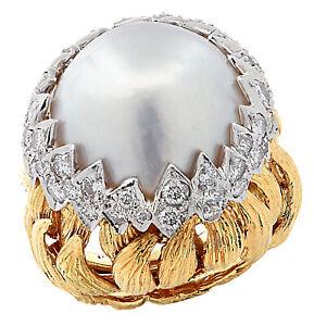David Webb Pearl and Diamond Cocktail Ring