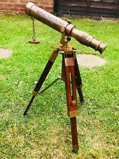 More details for nautical antique telescope wooden tripod vintage binocular pirates spyglass