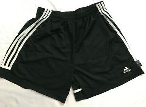 Adidas Climalite Youth Soccer Shorts Size L Black White Stripe Vintage 90s