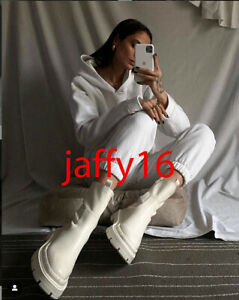 ZARA NEW WOMAN MID-HEEL ANKLE BOOTS WITH TRACK SOLES WHITE 35-42  3111/710