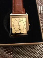 Phste Men's Square Gold Tone Watch with Date.  Leather Band.